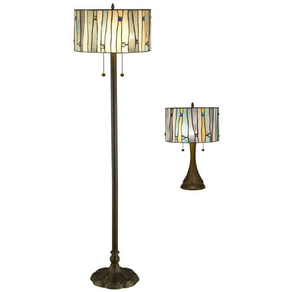 Tiffany Style Contemporary Yellow and Blue Stained Glass Table and Floor Lamp Set