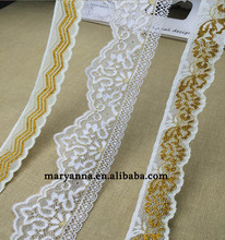 Wholesale different style wide narrow two-tone double color gold silk white lace decorative trim embroidery gold lace trim