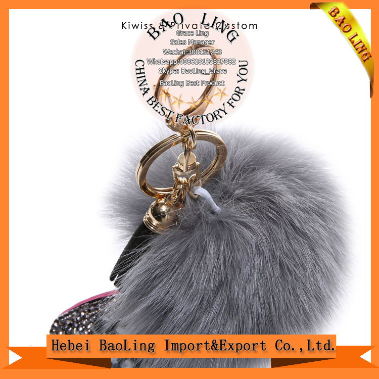 New Style Fox Fur Ball With Diamond pony horse pendants /Fur Rhinestones Key chain Keyring Keychain