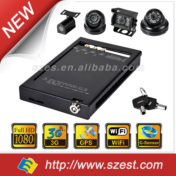 4CH 1080P 3G WiFi G-sensor GPS 12V car CCTV DVR and in car video recorder system