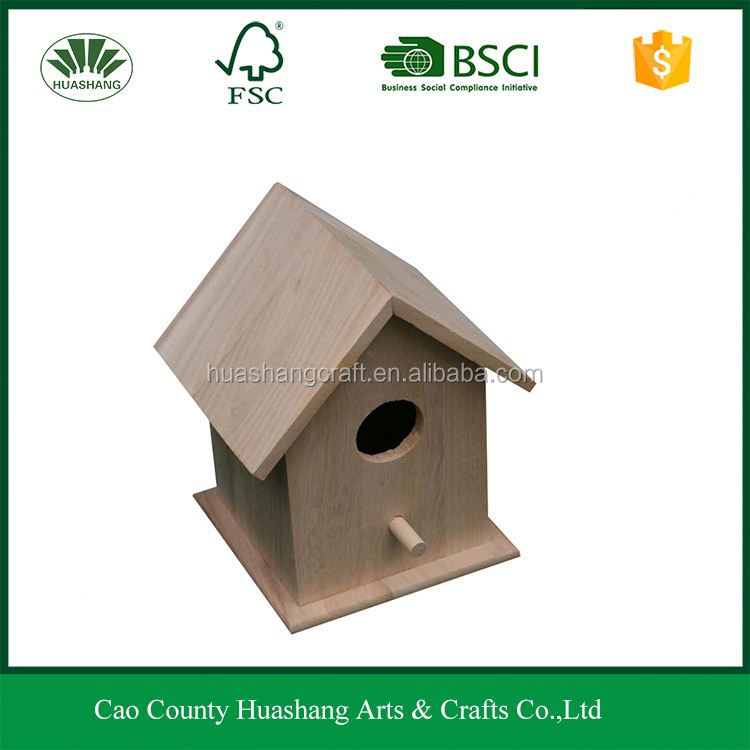 Small new unfinished wood bird house pet carry cages for decorative