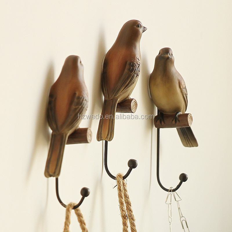 american country home decoration creative bird wall coat hooks resin clothes hanger wall hangings fashion flower room decoration