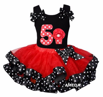 Red Black Polka Dots Satin Trimmed Tutu with Number 5 Cupcake Hot Pink Tank Top