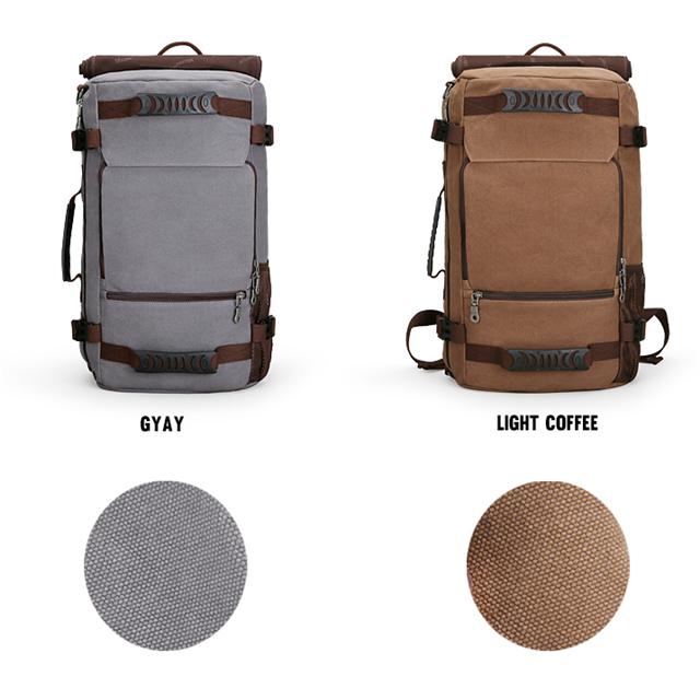 Osgoodway New Design Large Capacity Men Canvas Leather Hiking Backpack for Camping Picnic