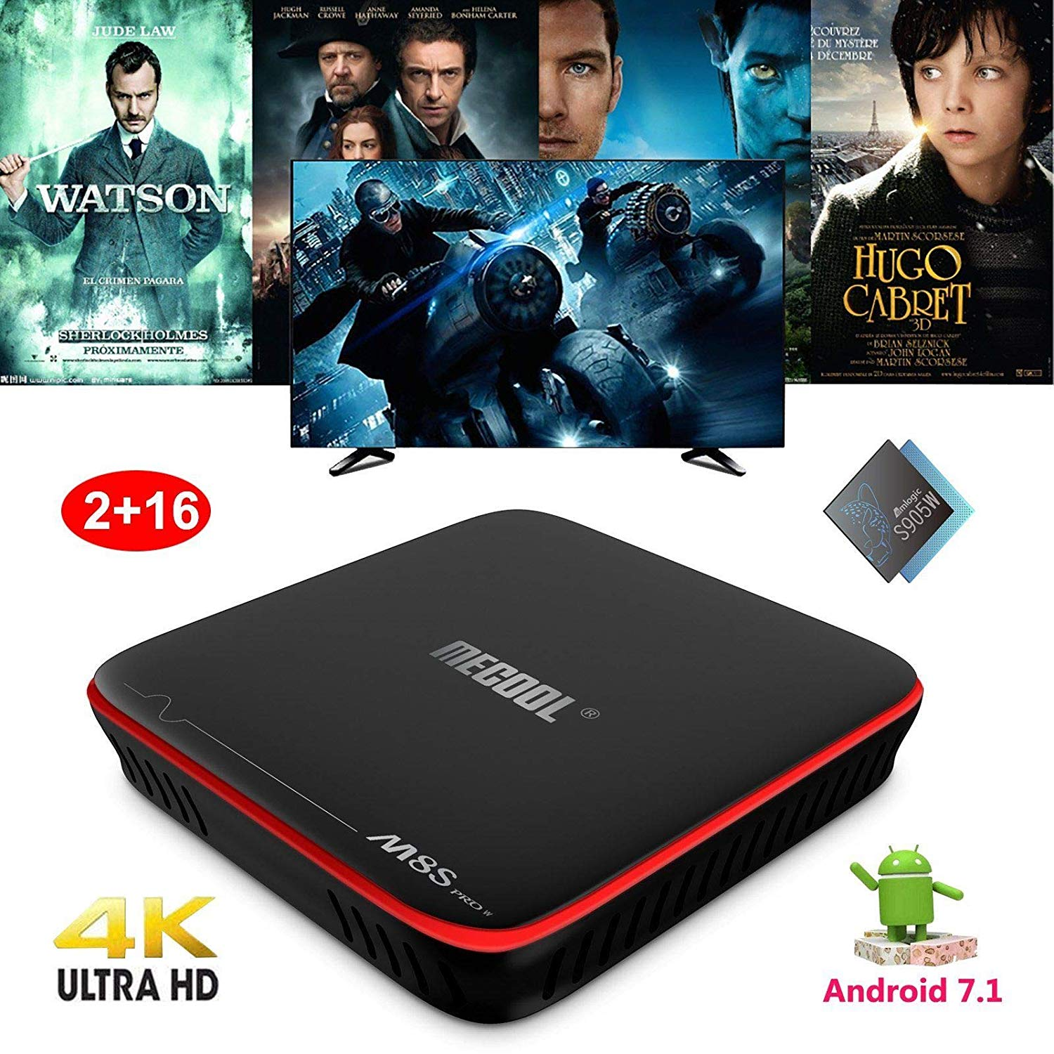 Mocei 2018 Android 7.1 Amlogic S905W Quad Core 2+16GB 4K Smart TV Box 3D Sports Movies
