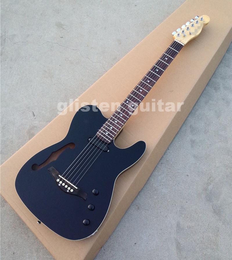 buy custom shop black electric guitar withf hollow hole rosewood bridge ec65. Black Bedroom Furniture Sets. Home Design Ideas
