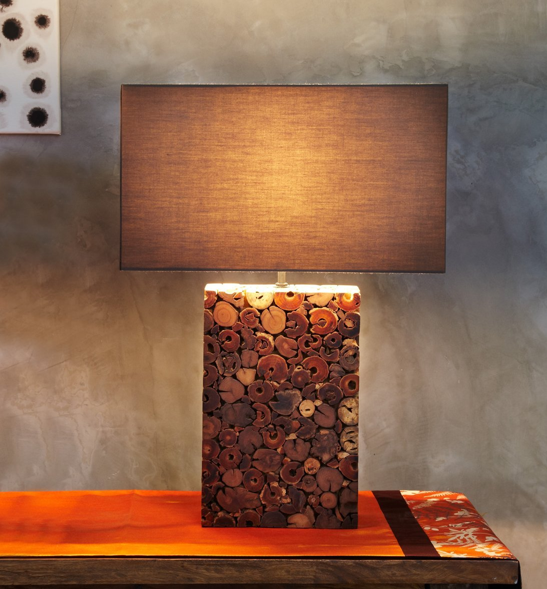 O'THENTIQUE Large Dark Driftwood Mosaic Table Lamp | Handmade Base with Brown Cotton Shade from Reclaimed Driftwood | Coastal Nautical Tropical Design for Beach House Cabin Cottage Bedroom Living