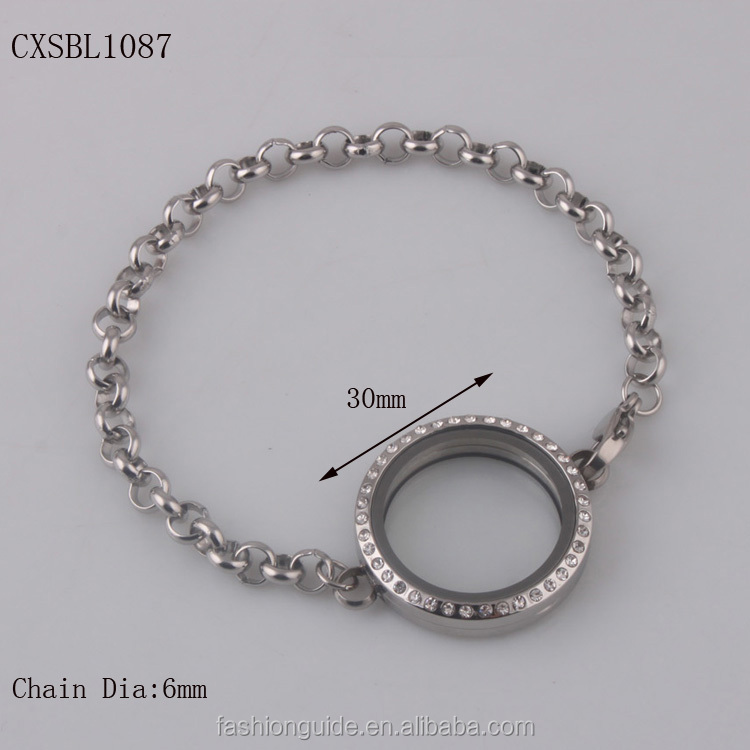 Stainless Steel Round Frame Photo Bracelet W/ Crystal - Buy Ladies ...