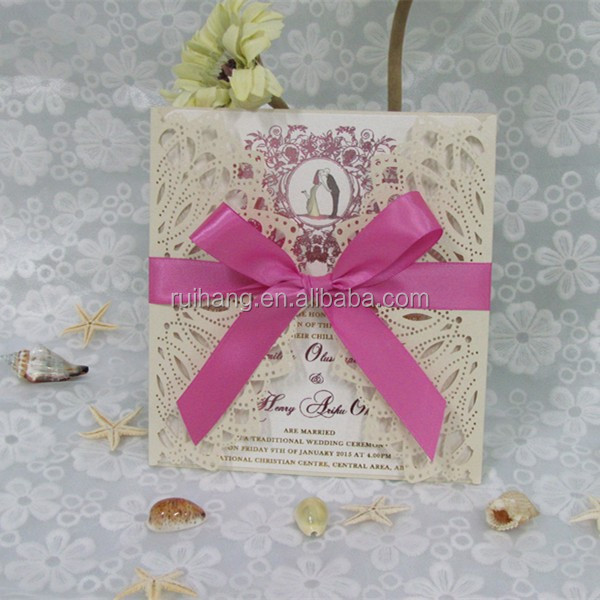 Luxury laser cut invitation cards with ribbon tied bow for wedding