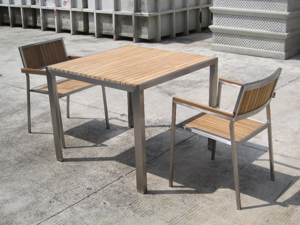 Mesa de acero inoxidable conjunto con madera de teca - Muebles de madera de teca ...