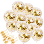 12 Inches Gold Confetti Balloons Party Balloons With Golden Paper Confetti Dots For Party Decorations Wedding Decoration