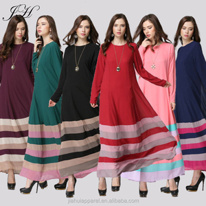 789cd4157da 2018 New Fashion Muslim Elegant Hit Color Long Sleeve Maxi Dress Dubai  Abaya Dress Malay Islamic