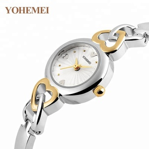 YOHEMEI Fashion Women Quartz Watch Brand Love Heart Shape Wristwatches Ladies Hand Chains Steel Watches
