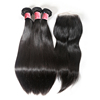 JP Best Selling 50% OFF Straight Hair Raw Indian Vigirn Human Hair Weave 3 Bundles With Closure Weft
