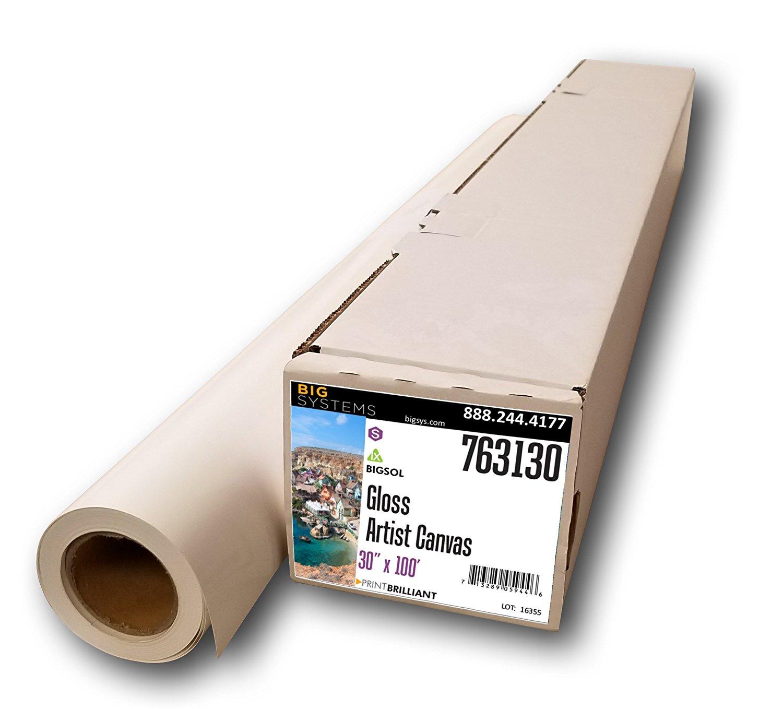 """BigSol Solvent/Latex 16 Mil Gloss Canvas (30"""" x 100')"""