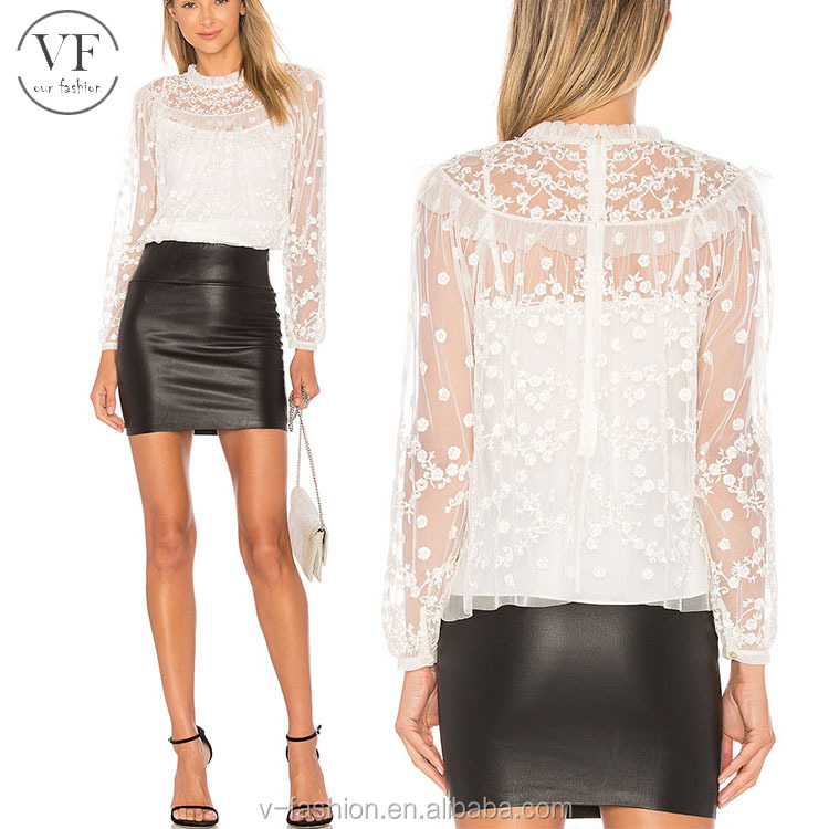 Custom white plain women lace blouse with long sleeve