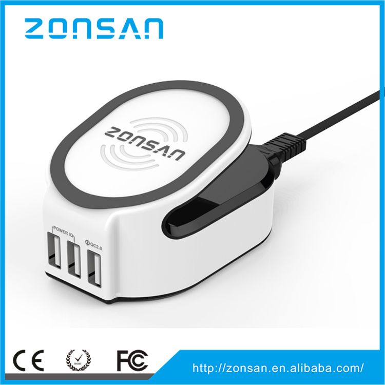 mobile phone accessories New 3 USB Wall Charger, Fashion QC2.0 Quick Charger, ZONSAN Wireless Charger
