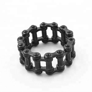 Bomei fashional stainless steel punk ring jewelry,black plating biker ring stainless steel chain ring for men female