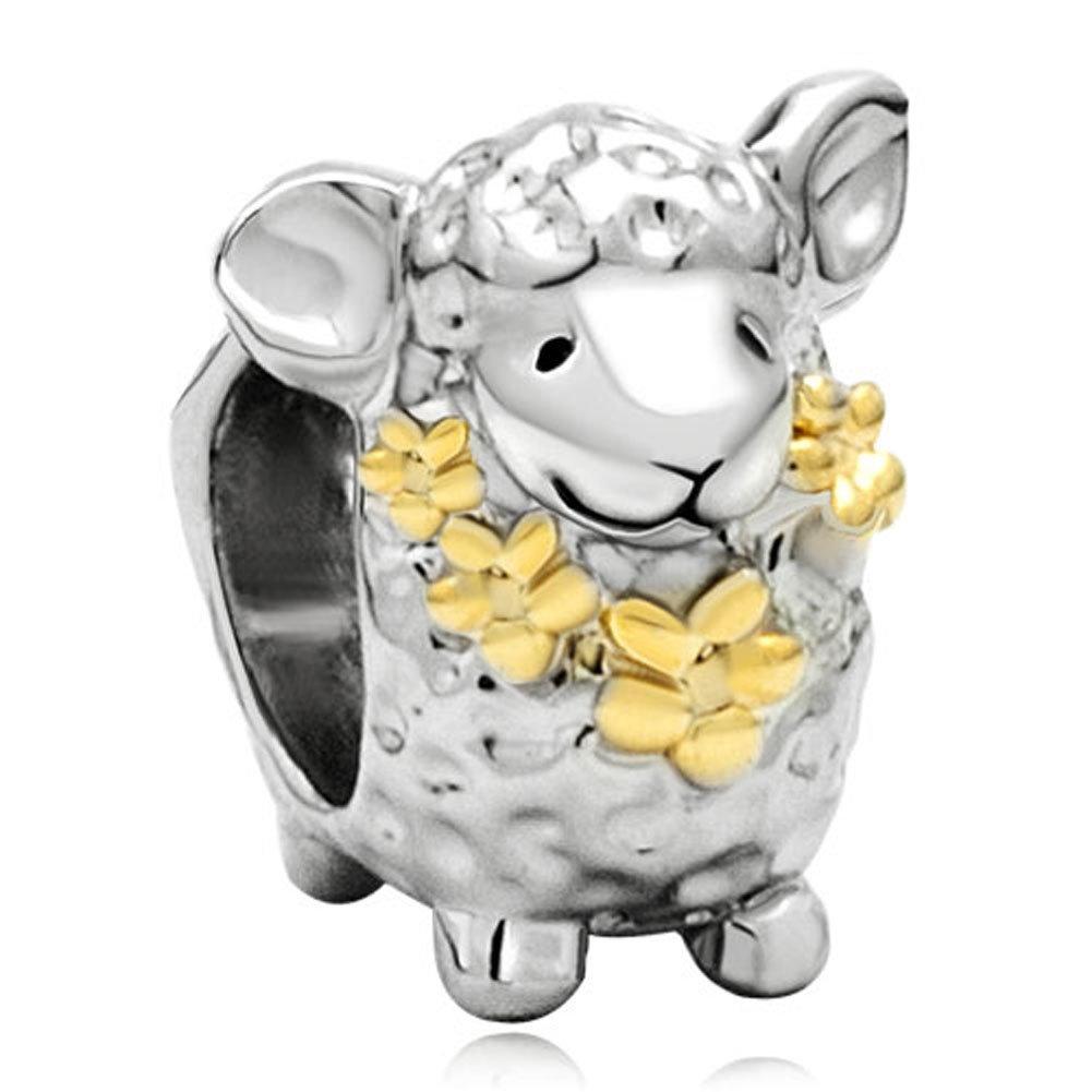 Pugster 22k Gold Plated Cute Sheep Animal Charm Bead Fits Pandora Charms Bracelet