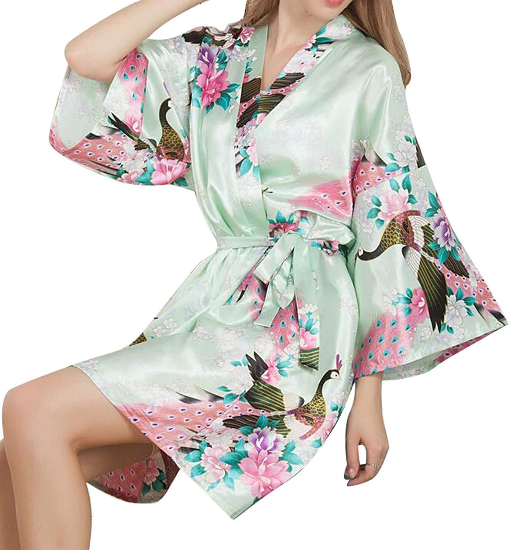 Get Quotations · Oberora-Women Peacock Kimono Satin Bathrobe Sleepwear  Nightgown Bridal Robe 7f69001d9