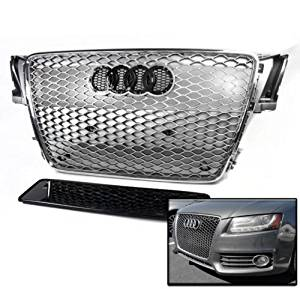 S5 B8 8T RS5 Style Honeycomb Mesh Hex Grille Grey with Chrome Trim ZMAUTOPARTS 2008-2012 Audi A5