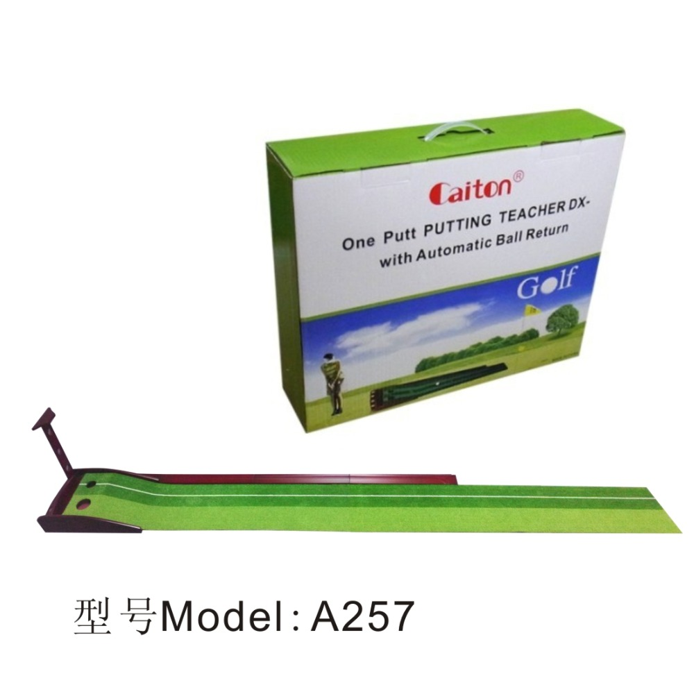 Factory manufacture golf putting mat with annatto pedestal + holder for putter +Auto return track A257