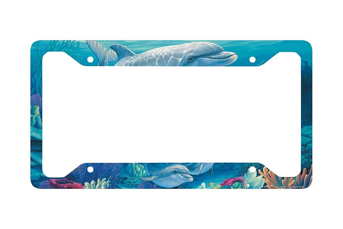 Airstrike Dolphins License Plate Frame, Dolphins Car Tag Frame, Dolphins License Plate Holder, Beach License Plate Frame-30-3401