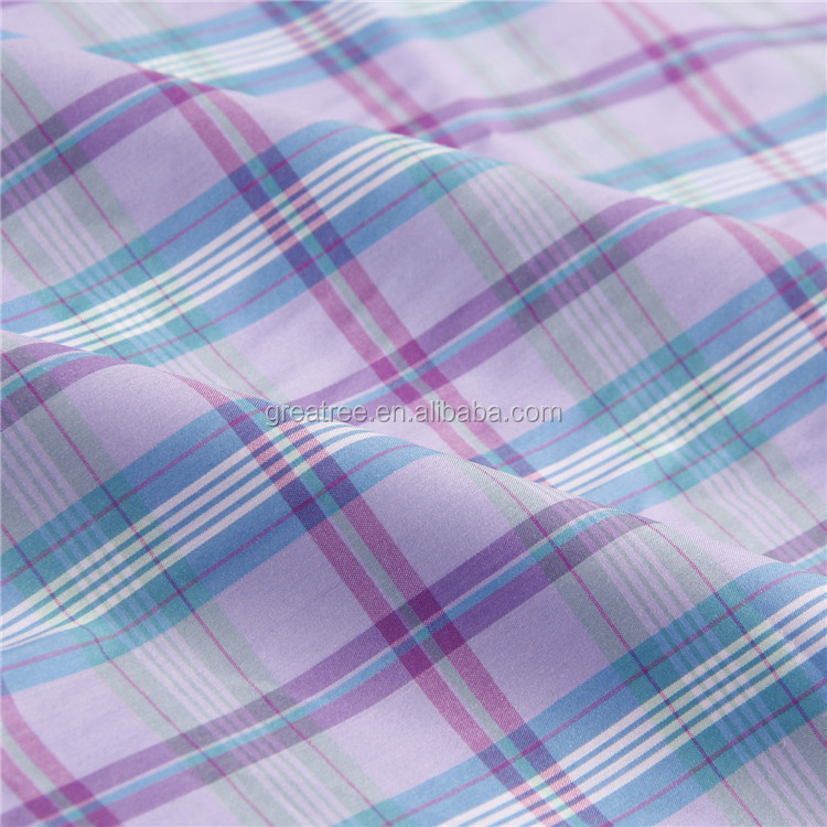 High density 100% cotton yarn dyed check woven shirting fabric