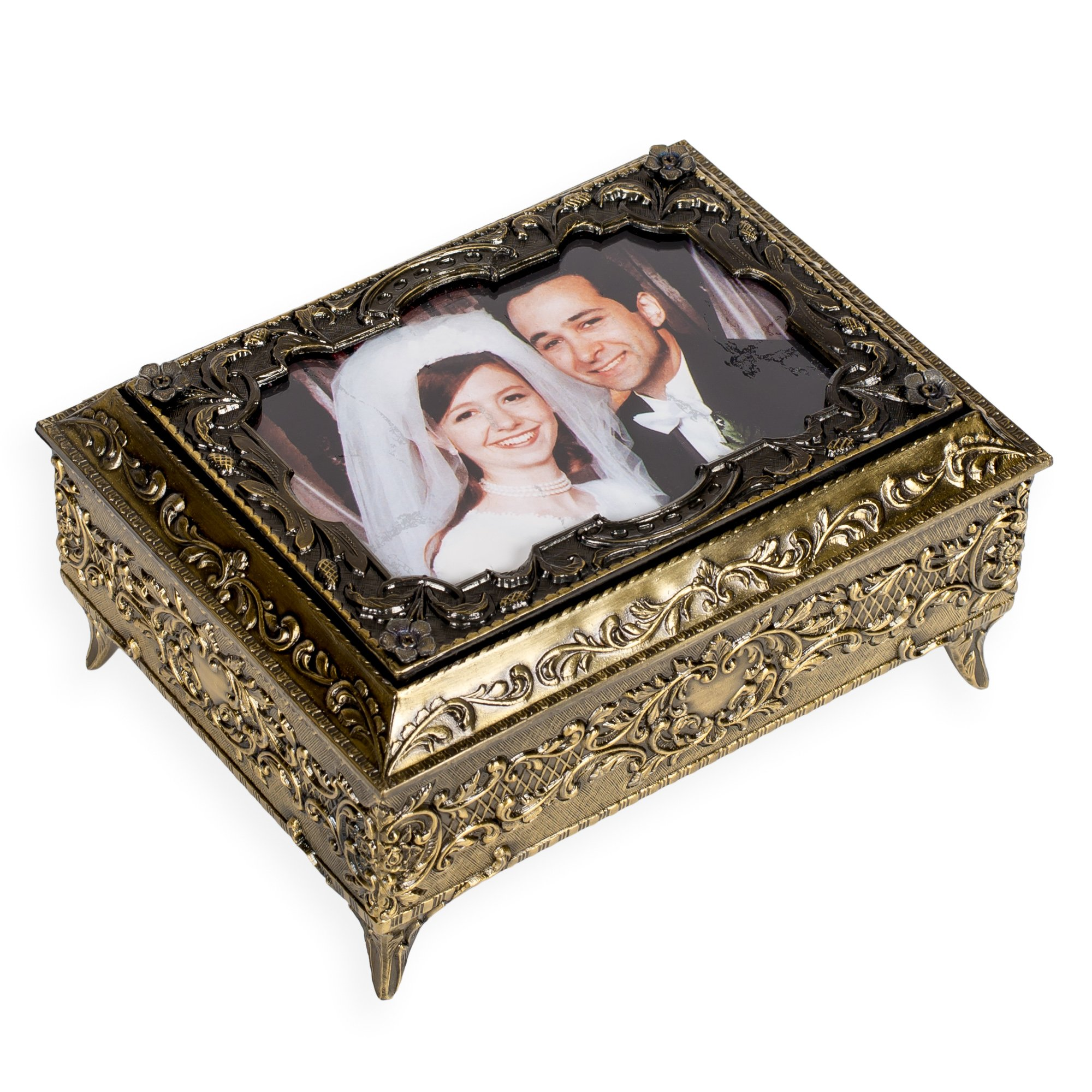 Buy Bronze Metal Photo Frame Lid Jewelry Music Box - Plays Song My ...