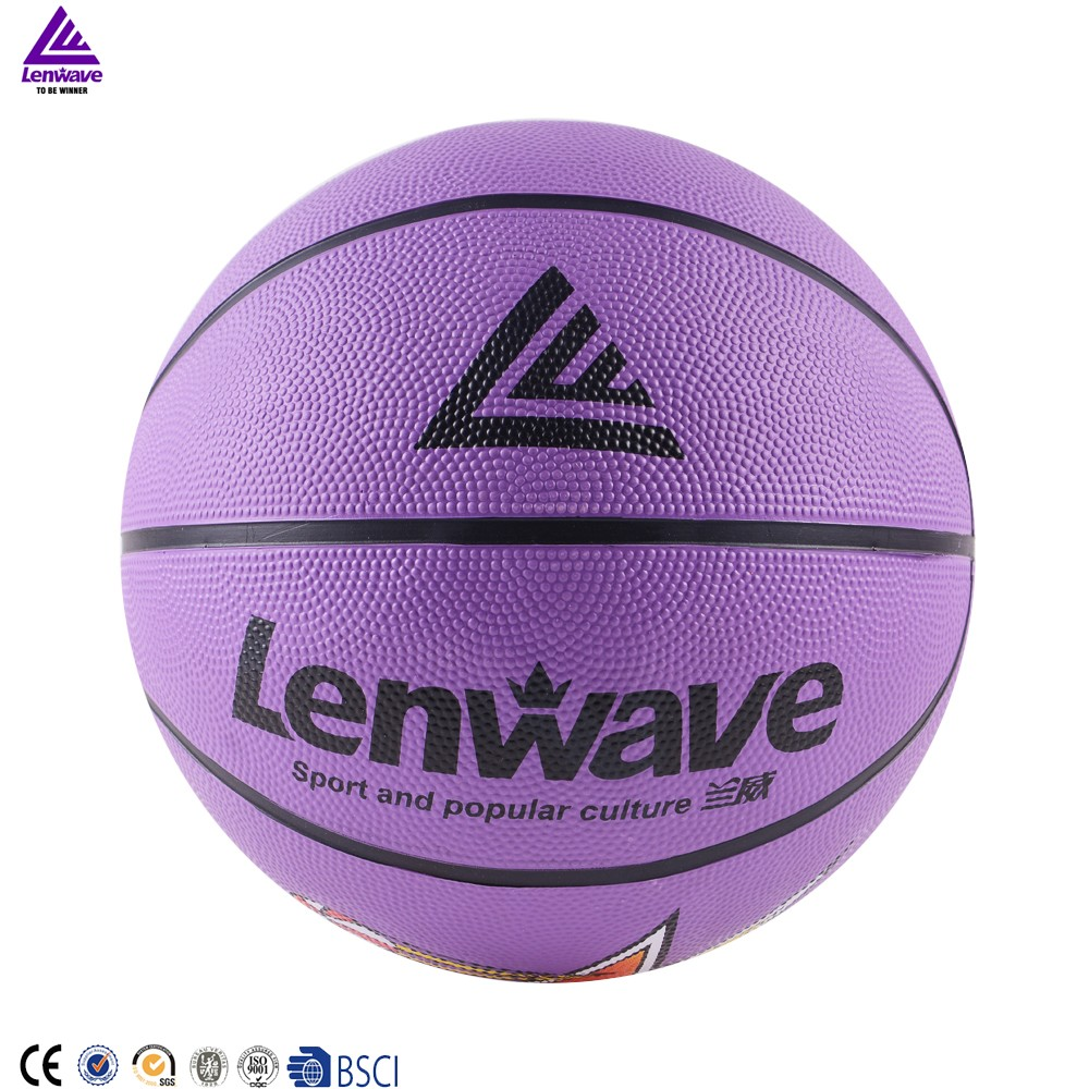 Lenwave brand deflated colorful cheap rubber basketball for Cheapest way to make a basketball court