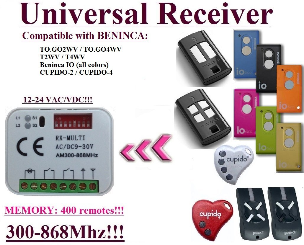 Universal receiver Compatible with Beninca TO.GO2WV, TO.GO4WV, T2WV, T4WV, CUPIDO, Beninca IO (all colors). 2-channel Rolling & Fixed code 300Mhz-868,3Mhz 12 - 24 VAC/DC receiver.