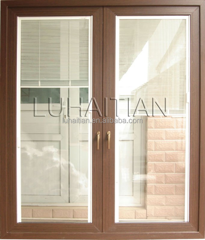 Wooden Color Pvc Door Glass Door Casement Door Design Modern