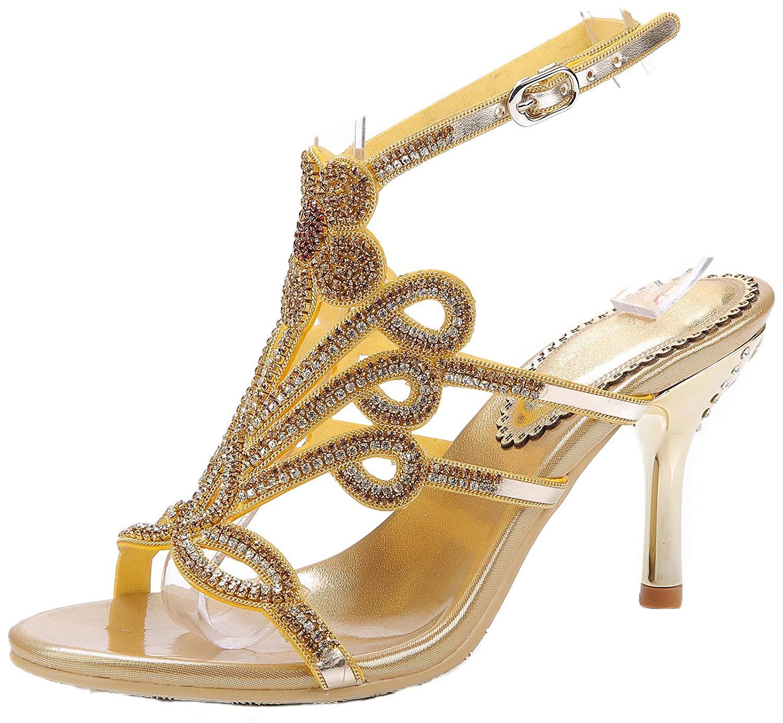 be05fb75170 Get Quotations · LizForm Women Studded Wedding Sandal Strappy Dress Sandal  Slingback Heels Flower High Heels