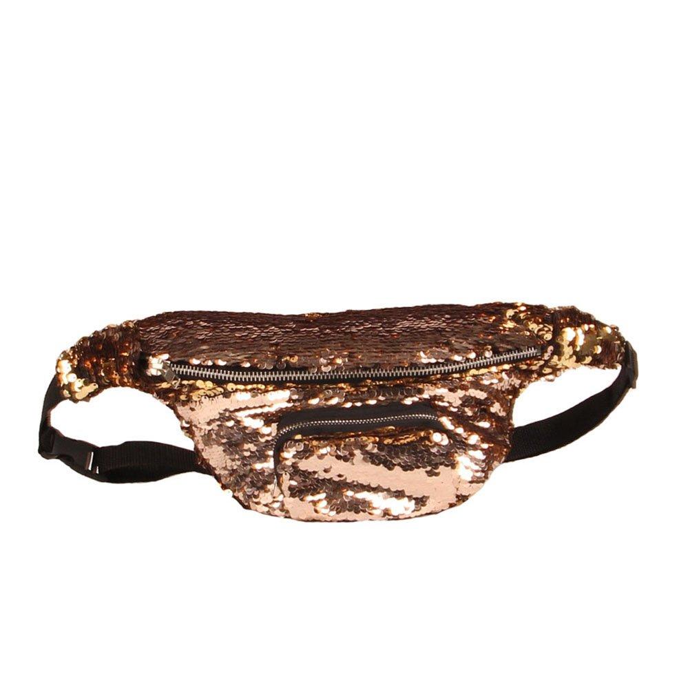 b230d7428e3 Get Quotations · BESTOYARD Sequins Fanny Pack Waist Pack Bag Casual Sport Waist  Pouch (Gold)