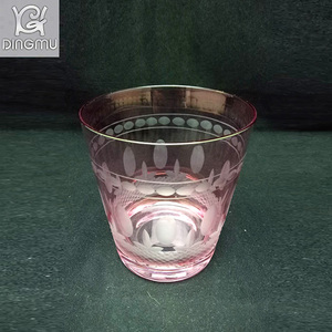 high quality factory 350ml shot glass tumbler with electric plating color & embossing pattern
