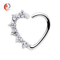 16Gauge Clear Cz Heart Right Closure Daith Cartilage Jewelry Tragus Earring