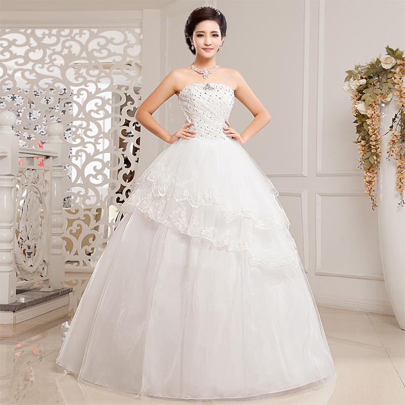 New 2015 Fashion Crystal Sequins Tube Top Lace Up Wedding