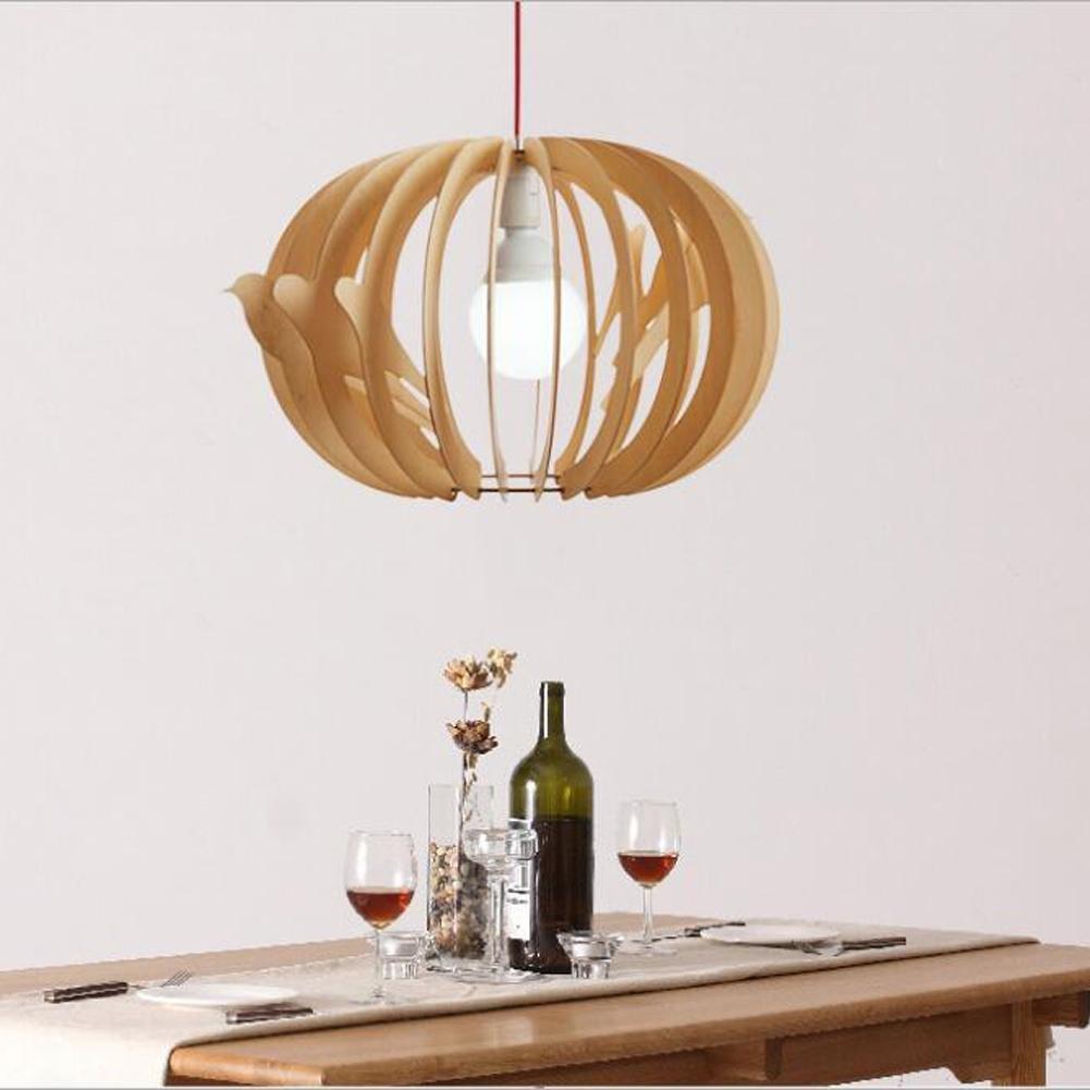 Wei-d Nordic Simple Wooden Bird Cage Pendant Light Wood Chandeliers Restaurant Showroom Pendant Lamp , light
