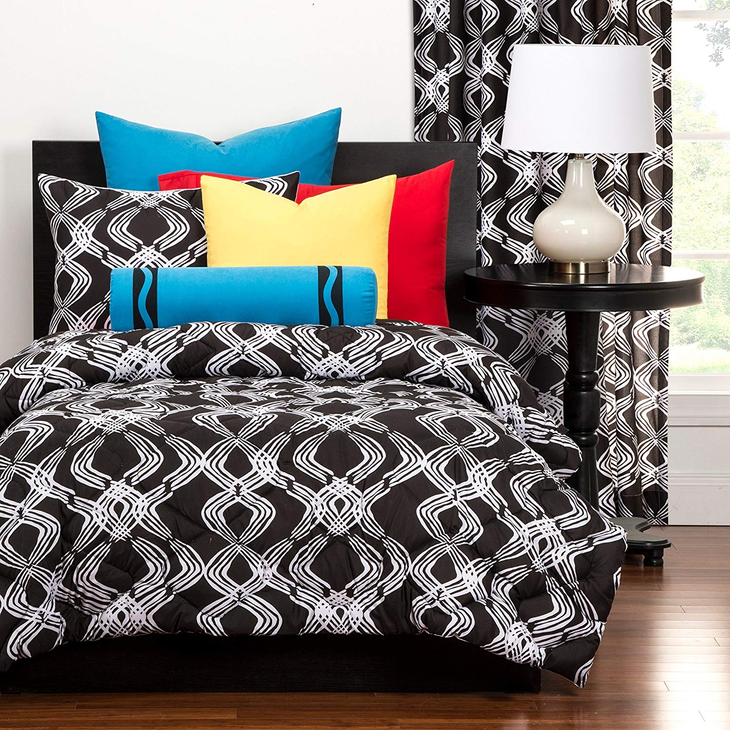 LO 3 Piece Girls Black White Graphic Printed Comforter Set Full Queen, Dark Black Geometric Stripes All Over Printed Adult Bedding Master Bedroom Casual Colorful Contemporary, Microfiber
