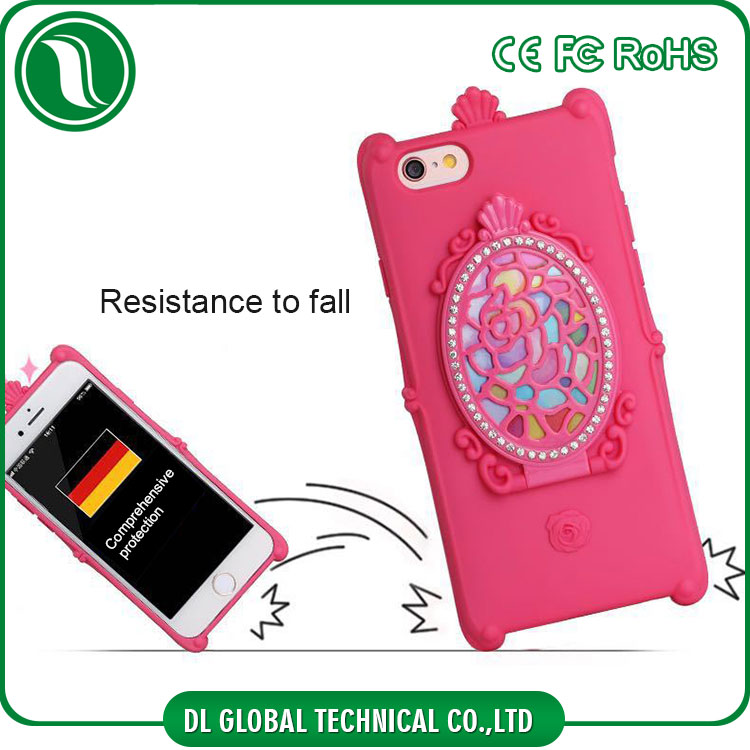 China factory tridimensional cosmetic mirror cover for iphone 6s with bling bling rhinestone phone case for iphone 6s tpu case