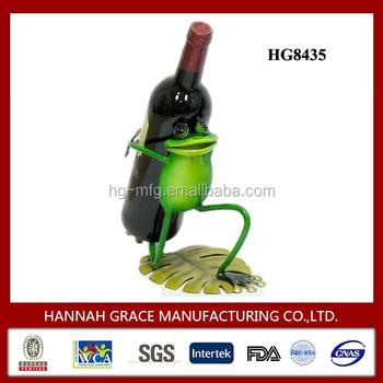 Frog Figurine Lovely Wrought Iron Wine Bottle Holder Buy Wrought