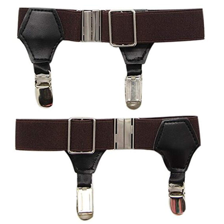 a5ff3de6060 Get Quotations · iphree 2 Pack Men s Sock Garter Belt Suspender with Non- slip DOUBLE Metal Clips