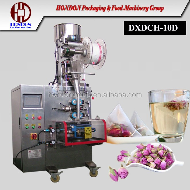 automatic pyrimad tea bag packing machine/triangle tea mesh bag packing machine (Model DXDCH-10D)