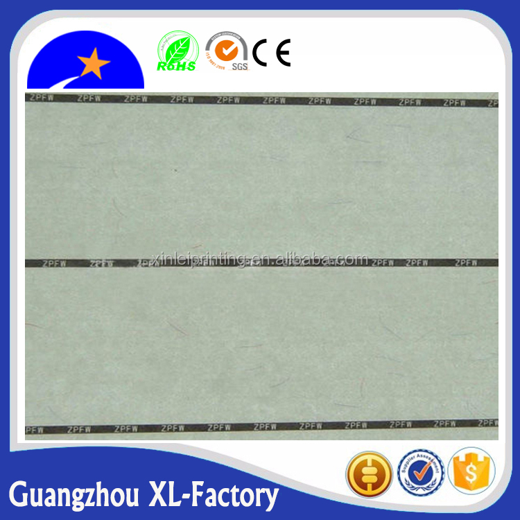 95gsm A4 size Anti-counterfeit certificate paper with invisible Red and blue UV fiber
