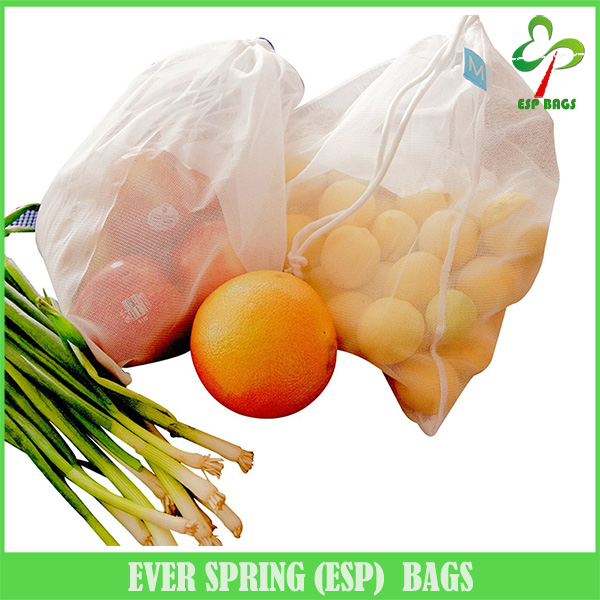 Set of 5 reusable lightweight produce bag, transparent handy eco-friendly breathable drawstring fresh vegetable packaging bag