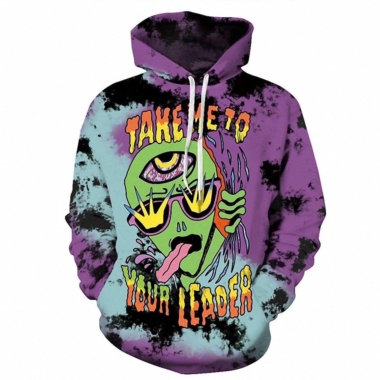 yoyoselling Hip Hop 3D Print Pullover Hooded Cartoon Alien Funny Men Women Fashion Sweatshirts Hoodies Plus Size S-3XL