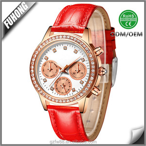 New stylish women genuine leather strap ladies quartz wrist watch battery sr626sw