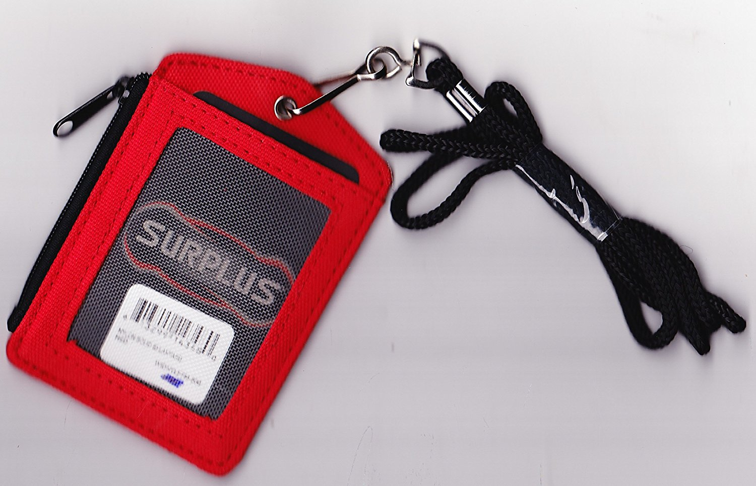 Red Zippered Nylon ID Identification Card Holder with Lanyard