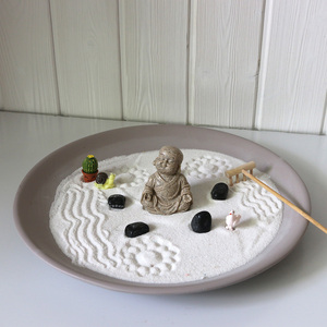 Chian Factory wholesale desktop Feng shui sand mini zen garden tabletop buddha zen garden China yin & yang meditation garden
