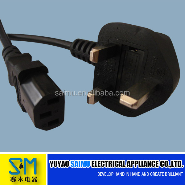 3 pin plug uk power cord with switch